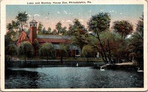 Philadelphia PA Lake and Monkey House Zoo Postcard used 1923