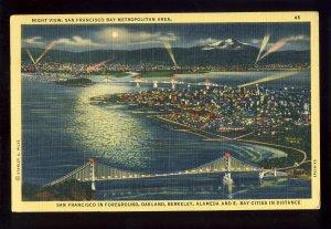 San Francisco, California/CA Postcard, Night View Of Bay Metropolitan Area, 1942