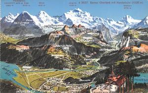 Switzerland Old Vintage Antique Post Card Berner Oberland mit Harderkulm Unused