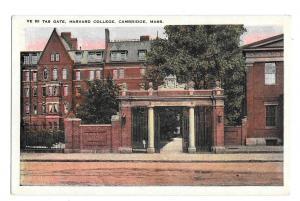Harvard Universi Cambridge MA Ve Ri Tas Gatet  Vintage Postcard