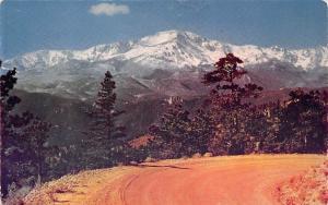 USA Snow Covered Pikes Peak, Colorado Road Mountain Landscape