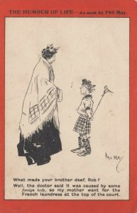 AS: Paul May, PU-1905; Humour of Life, Older woman speaking to young Irish boy,
