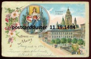 1484 - GERMANY Gruss aus Mainz 1902 Litho Gulenbergplatz. Roses Border. Royalty
