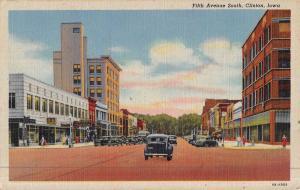 Clinton Iowa Fifth Ave Street Scene Antique Postcard K47114