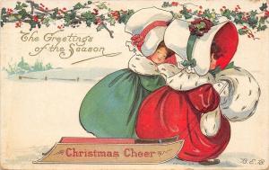 BEB Bertha E Blodgett~Red & Green Christmas Girls Pull Sled~Ermine Muff~Emboss