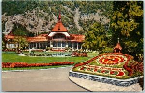 Vintage INTERLAKEN Switzerland Postcard Kursaal Gardens Casino Flower Bed