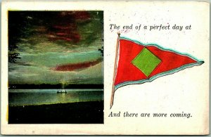 1910s Pennant Greetings Postcard The End of a Perfect Day at (Blank) UNUSED