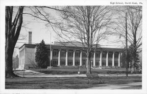 North East Pennsylvania~High School~Bench Across Street~B&W 1940s Postcard