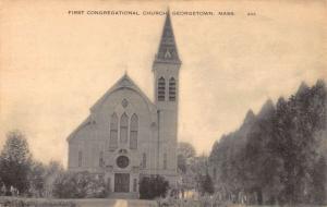 Georgetown Massachusetts First Congregational Church Antique Postcard K21794