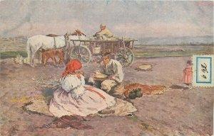 Ethnic Postcard Joza Uprka Painting folk Slovakian costumes