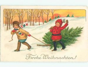 foreign 1910 Christmas GERMAN KIDS DRAG TREE HOME FROM FOREST AB5931