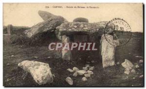 Old Postcard Dolmen Menhir Carnac Entree dolmen Kermario