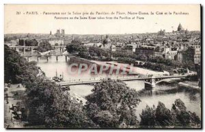 Paris Old Postcard Panorama on the Seine taken from Flora Pavilion Notre Dame...
