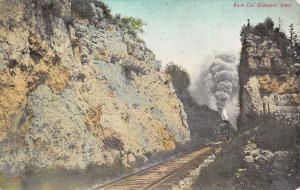 Dubuque Iowa~Steam Locomotive~Train Coming Thru Railroad Rock Cut~1908 Postcard