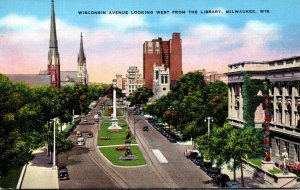 Wisconsin Milwaukee Wisconsin Avenue Looking West From The Library