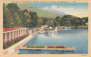 New York Lake George West End Of The Pergola Looking The Village 1941
