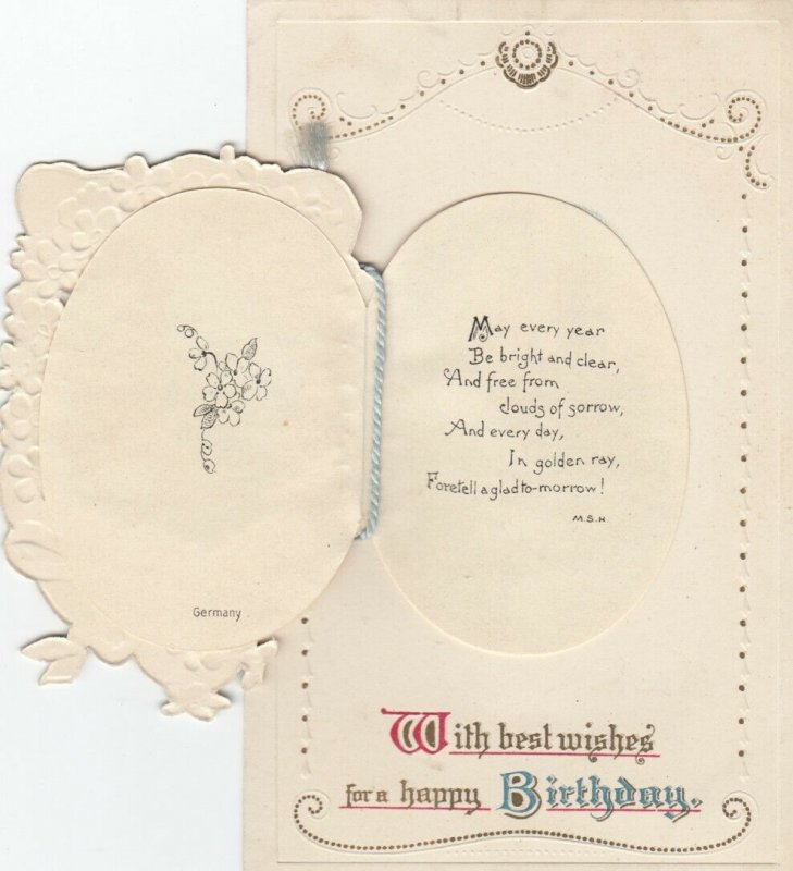 BIRTHDAY, 00-10s; Best wishes for a Happy Birthday, Booklet front tied with yarn