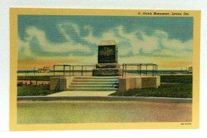 Lewes Delaware Dutch Monument Linen Vintage Postcard