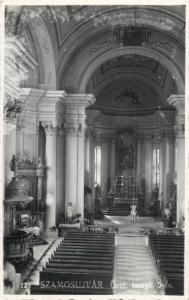 Romania Szamosújvár Gherla Transylvania church interior photo postcard 1941