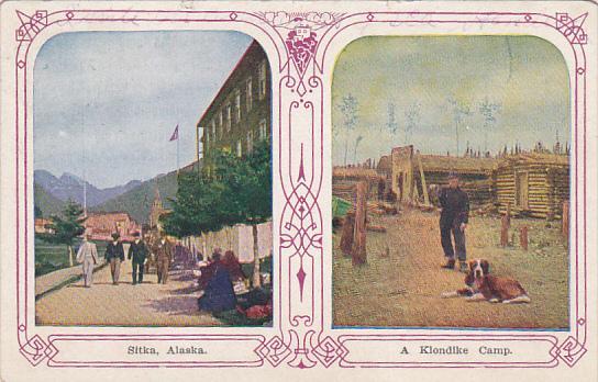 Split-View, Men on Street & Man with dog at Klondike Camp, Sitka, Alaska, 191...