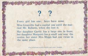 What Do Boys Have That Girls Dont Old Missing Riddle Postcard