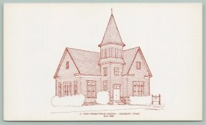 Granbury Texas~First Presbyterian Church~Built in 1896~Dedication 1897~Postcard