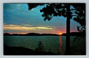 Muskoka Ontario- Canada, Sunset on a Muskoka Lake, Lake of Bays, Chrome Postcard