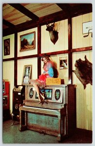 Lake Ozark MO~Dogpatch Exhibits Interior~Dance Hall Girl on Player Piano~1960 PC