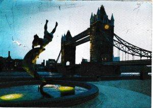 Postcard London Tower Bridge at Night metallic finish