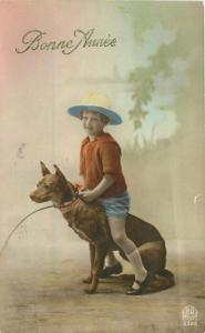 1921 Little Girl Taxidermy Dog RPPC Photo Postcard 5596