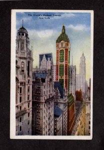 NY World's Highest Towers Skyscrapers New York City NYC Vintage Postcard