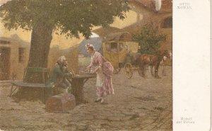 Otto Nowak . Mozart auf Reisen. Hore Fine painting, vintage German  PC