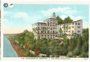 La Valencia Hotel La Jolla California Vintage Linen Postcard Curteich