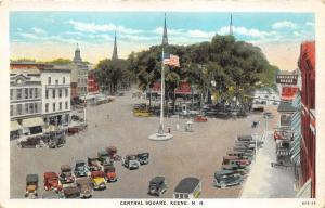 Keene New Hampshire~Street @ Central Square~Cheshire House~American Flag~1920s
