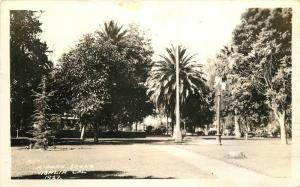 1937 Park Scene Visalia California RPPC real photo postcard 8342