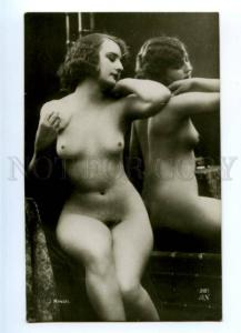 177934 NUDE Woman in MIRROR Vintage MANDEL AN PHOTO #281