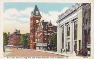 Exterior View, M. and M. Bank and City Hall with Durfee Memorial Clock, Clock...