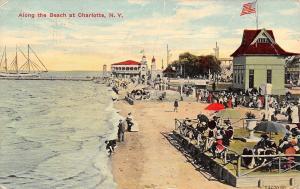 Charlotte New York~Beachfront~Ladies & Gents Watch From Platform~Pier~1912 PC
