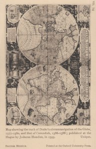 Sir Francis Drake Medieval 1500s Map Globe Antique Postcard