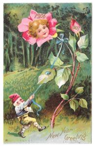 New Years Fantasy Flower Face Rose Gnome 1906 1907 Postcard