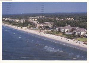 Aerial view of Villas and Hotels along the beautiful South Forest Beach,  Hil...