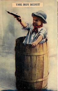 The Boy Scout~Little Feller Shooting Gun From Inside Beer Barrel~1908 Postcard