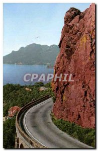 Postcard Modern cornice d & # 39or The road along the sea between Theoulas an...