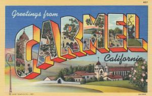 Large Letter Greetings CARMEL, California, 1930-40s