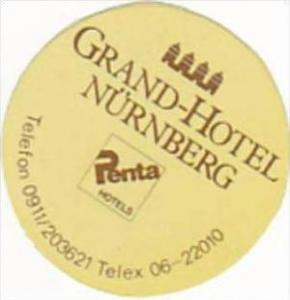 GERMANY NUERNBERG GRAND HOTEL VINTAGE LUGGAGE LABEL