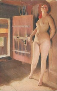 The Attic by Anders Zorn nude in art early postcard