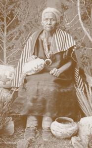 Old Washee Red Indian Medicine Woman Cowboy Western Postcard