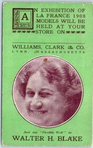 Lynn, Mass. Advertising Postcard WILLIAMS, CLARK & CO 1908 La France Models