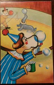Circus Clown w Chain on Face~Shake Postcard to Make Ridiculous Expressions