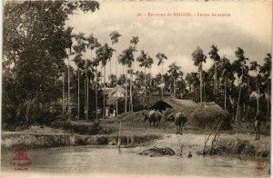 CPA AK INDOCHINA Environs de Saigon Ferme Annamite VIETNAM (957065)